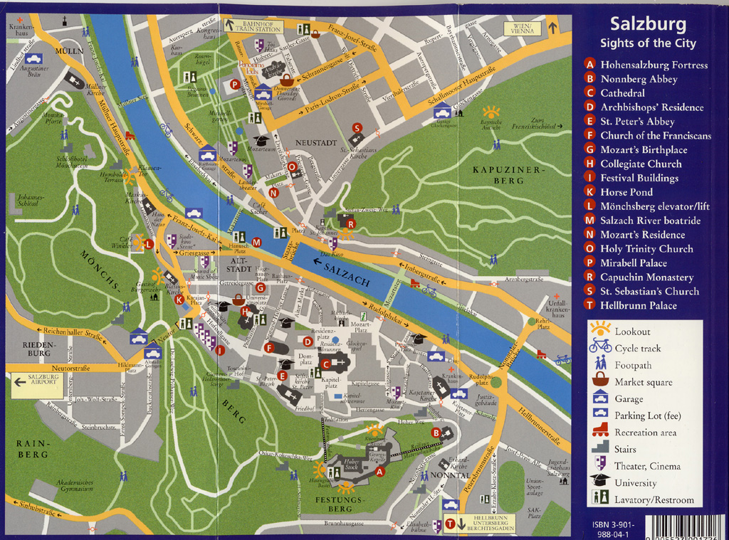 salzburg austria city map. Black Bedroom Furniture Sets. Home Design Ideas